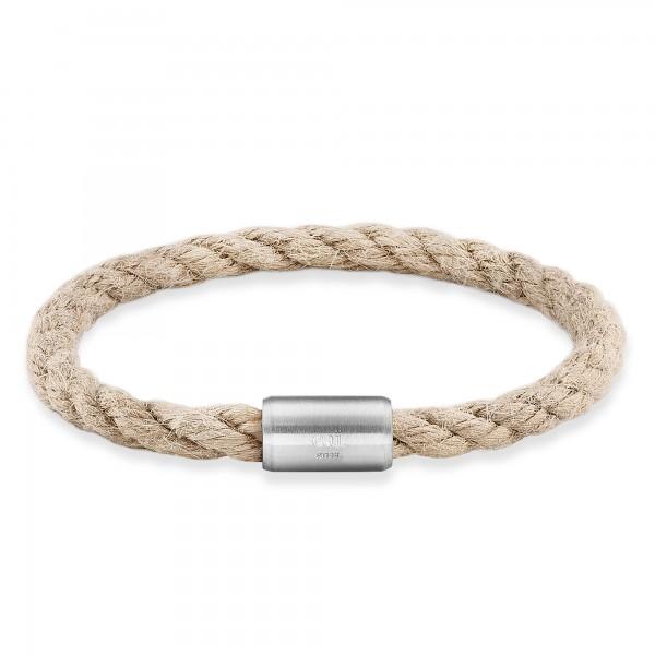 cai Armband Edelstahl Textilband creme 23cm
