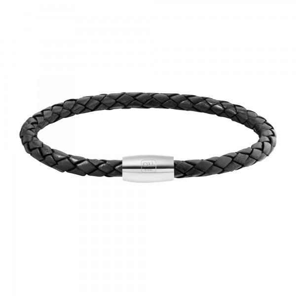 cai Armband Edelstahl Leder schwarz 23cm