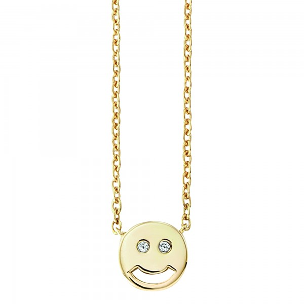 cai Collier 925/- Sterling Silber vergoldet Zirkonia Emoji