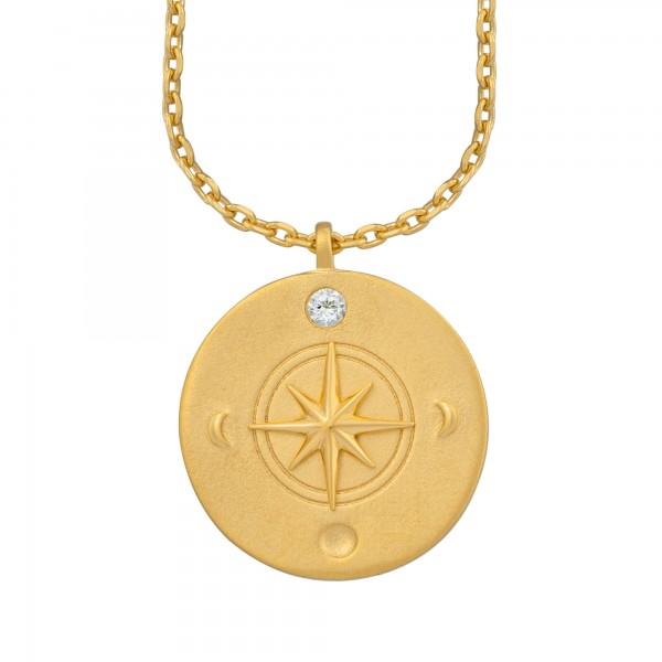 cai Halskette Element Feuer 925/- Sterling Silber vergoldet Weißtopaz