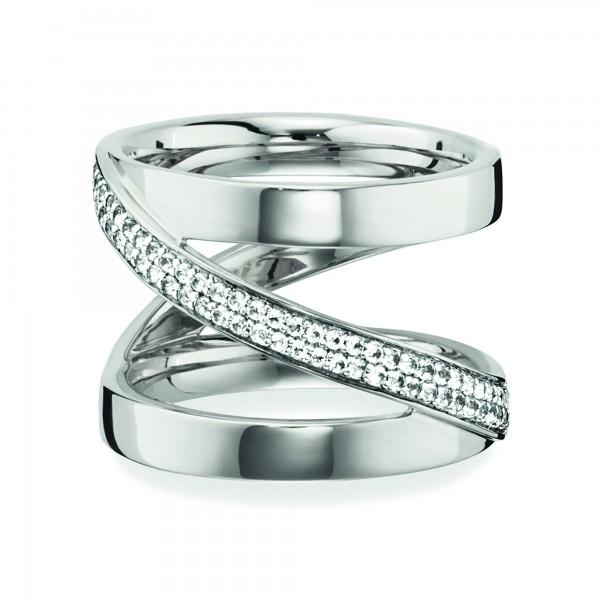 cai Ring 925/- Sterling Silber rhodiniert Topas weiß