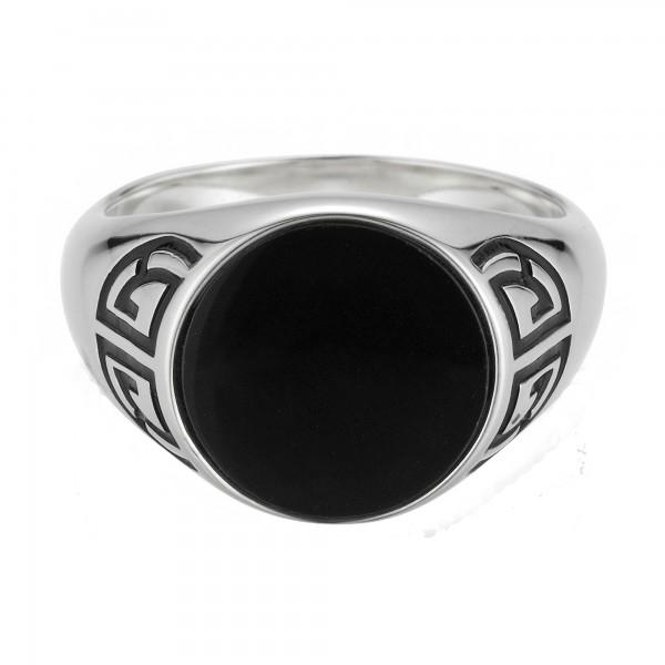 cai Ring 925/- Sterling Silber rhodiniert Onyx Asien