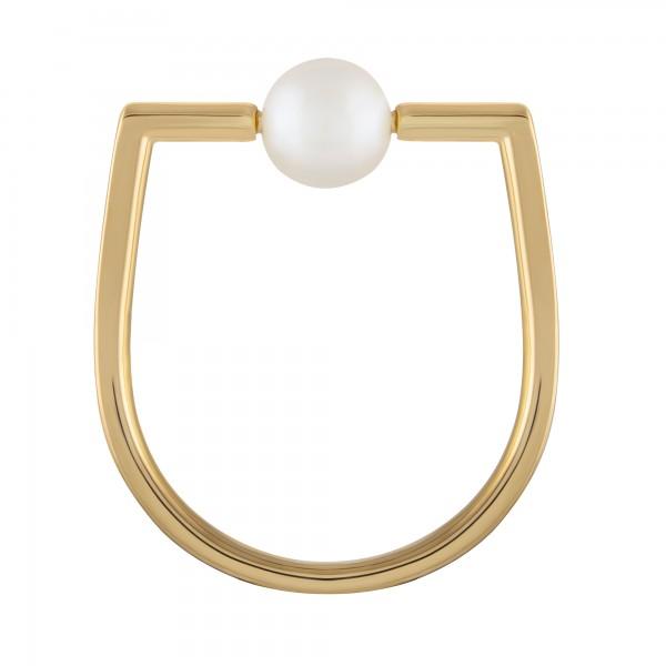 cai 925/- Sterling Silber vergoldet Perle kantig eckig Ring
