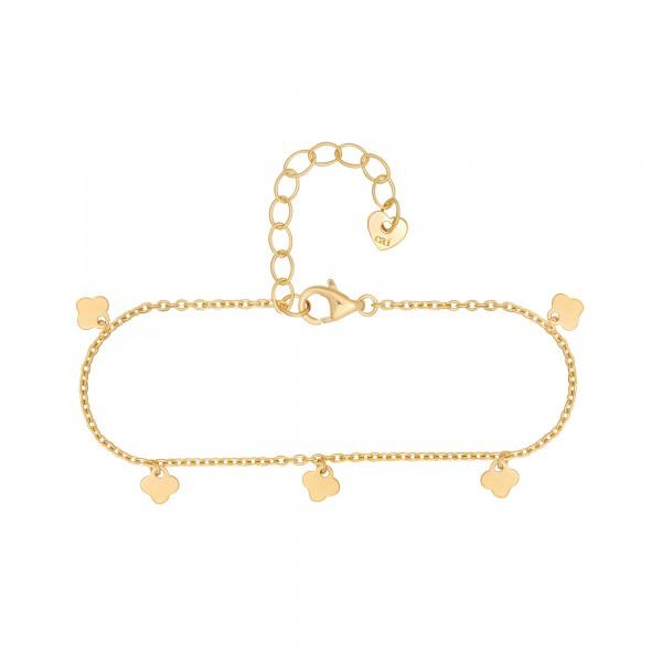 cai Armband 925 Silber vergoldet Anhänger Kleeblatt
