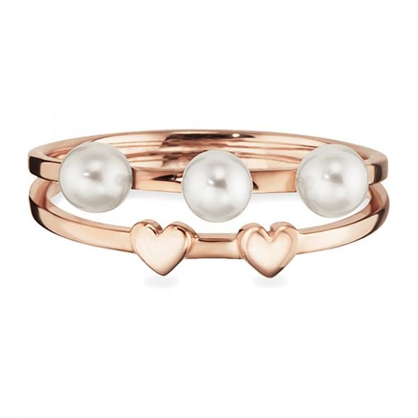 cai 925/- Sterling Silber rotvergoldet Perlen Ring