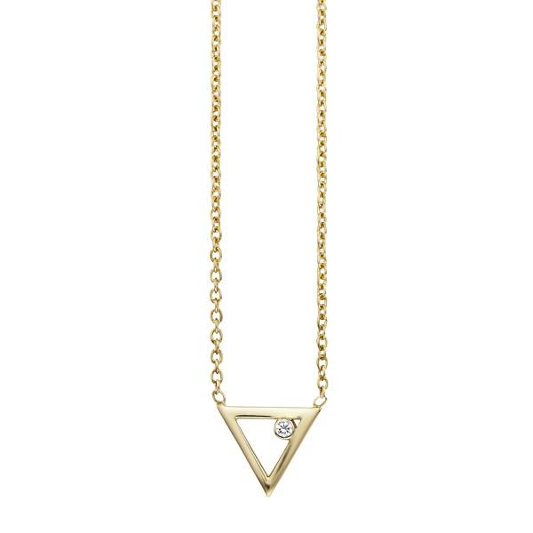 cai Collier 925/- Sterling Silber vergoldet Zirkonia Dreieck