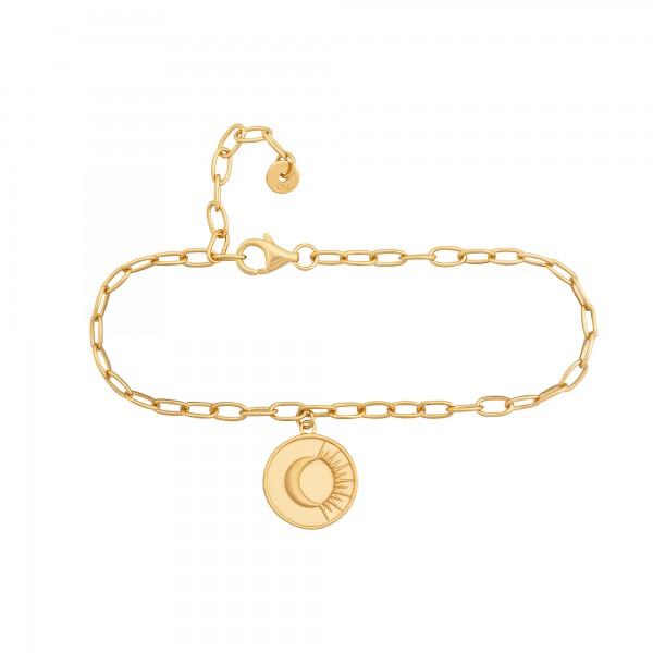 cai Armband 925 Silber Armband Münze vergoldet Kompass Sonne