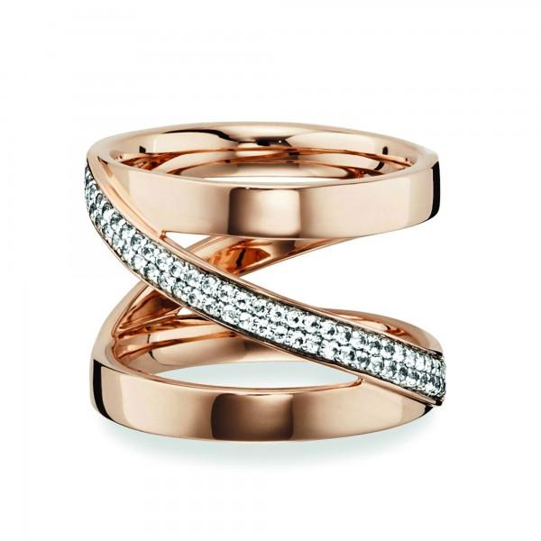 cai 925/- Sterling Silber rotvergoldet Topas weiß Ring