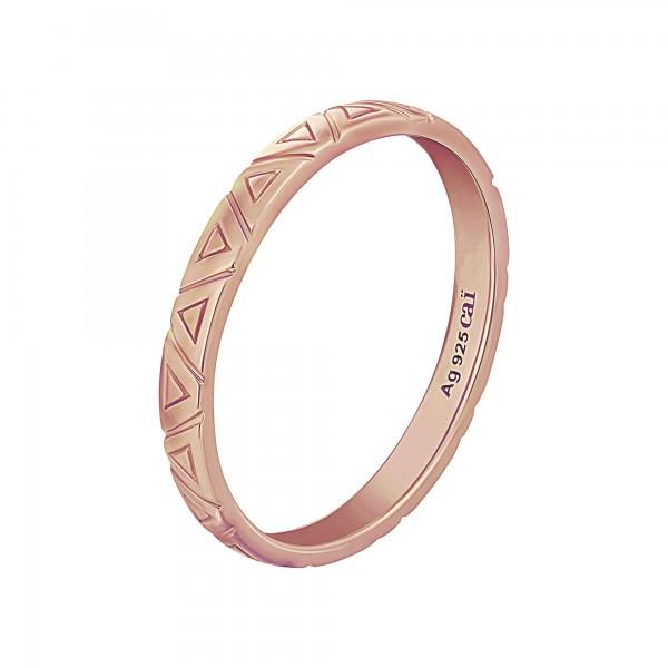 cai Ring 925 Silber rosévergoldet Dreiecke Stacking