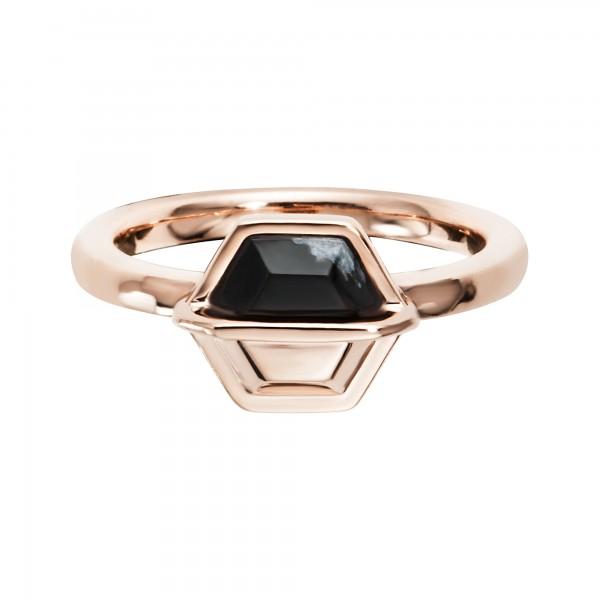cai Ring 925/- Sterling Silber rotvergoldet Hexagon Sechseck Obsidian
