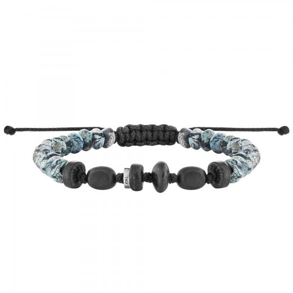 cai Armband 925/- Sterling Silber Nylon Beads Holz Marblestone