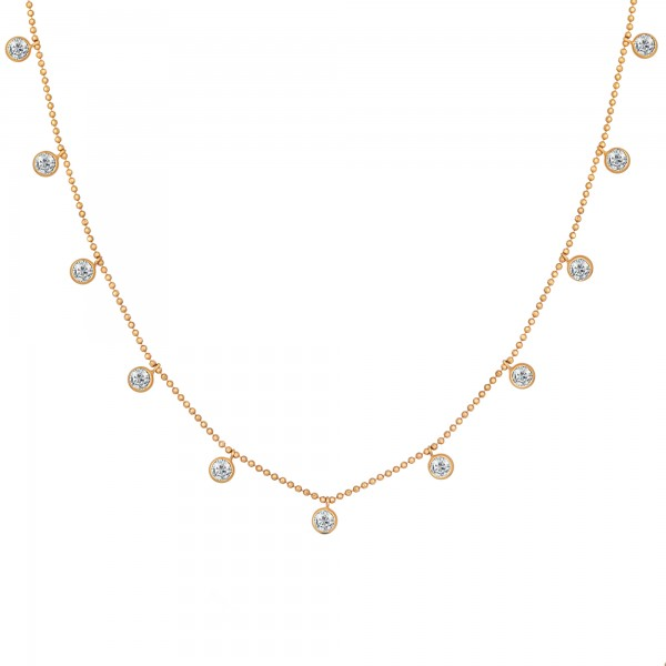 cai Collier 925/- Sterling Silber vergoldet Anhänger rund Zirkonia