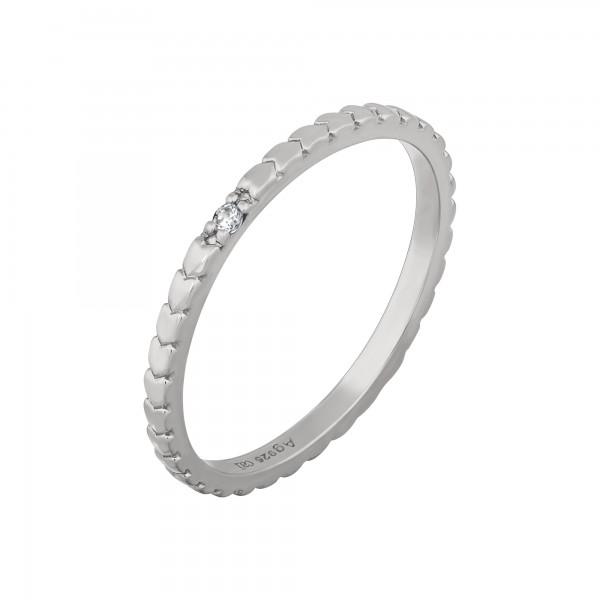 cai Ring 925/- Sterling Silber rhodiniert Herzen Zirkonia Stacking
