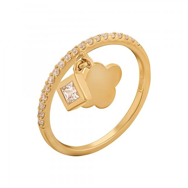 cai Ring 925 Silber vergoldet mit Anhägern Kleeblatt Zirkonia