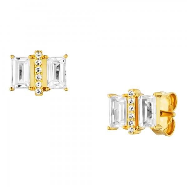 cai Ohrstecker 925/- Sterling Silber vergoldet mit Weißtopas