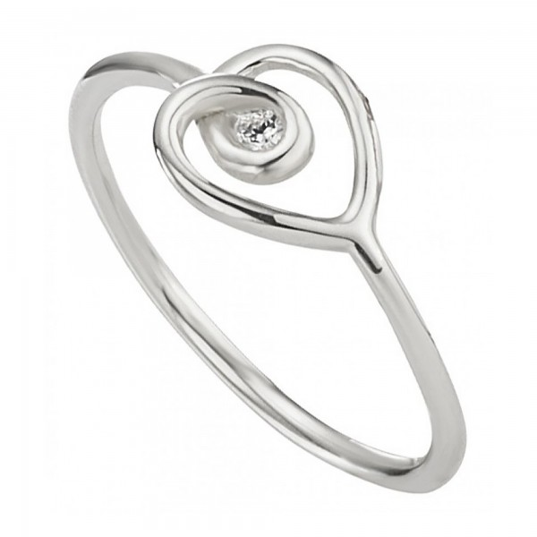 cai 925/- Sterling Silber rhodiniert Zirkonia Ring
