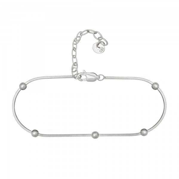 cai Armband 925/- Sterling Silber rhodiniert Schlangenkette vierseitig diamantiert mit Kugeln