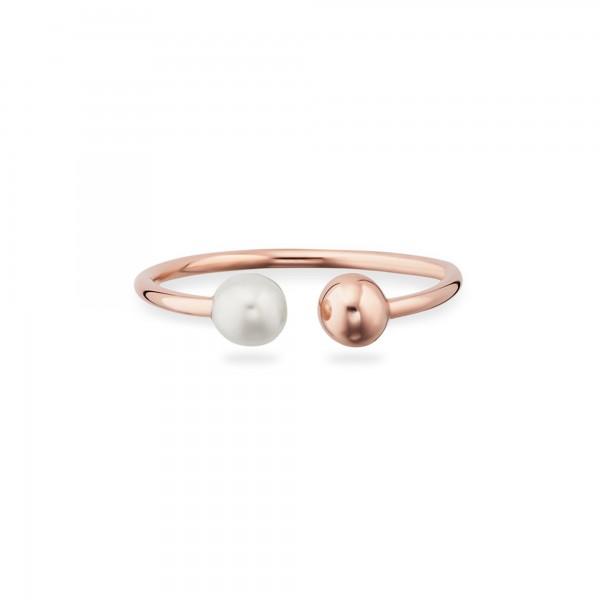cai 925/- Sterling Silber rotvergoldet Perle Ring