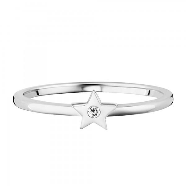 cai 925/- Sterling Silber rhodiniert Zirkonia Stern Ring