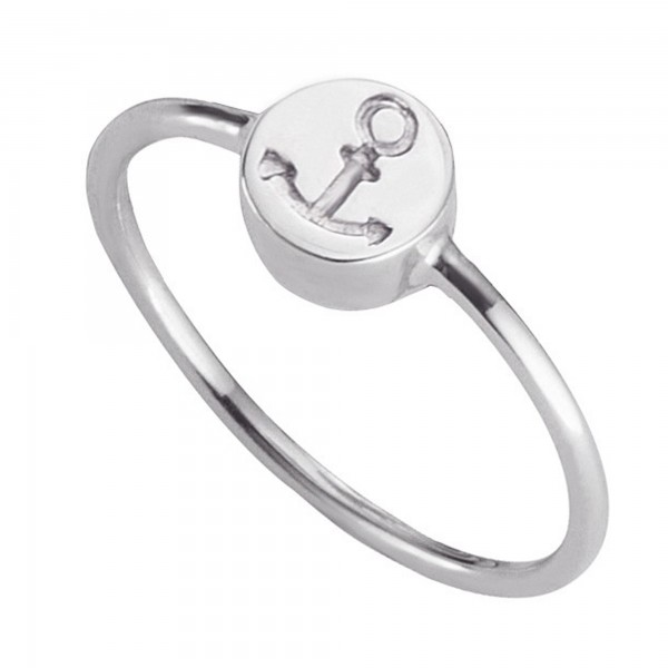cai Ring 925/- Sterling Silber rhodiniert Anker