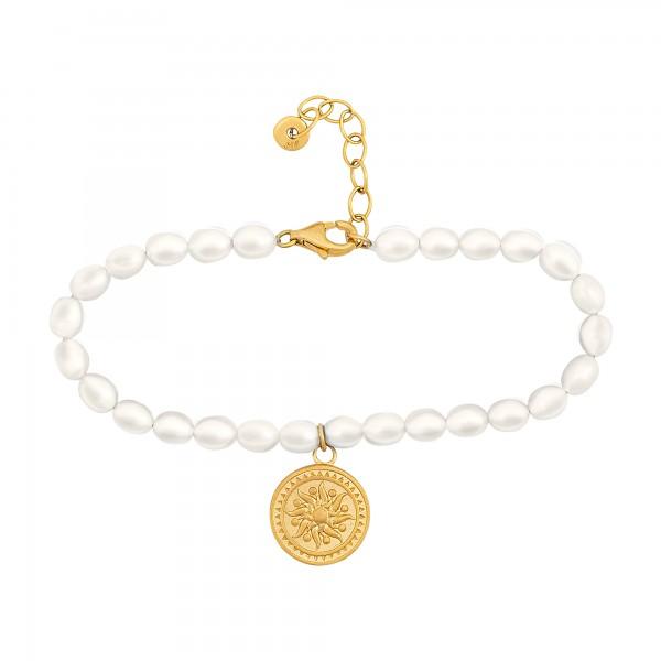 cai Armband 925 Silber Perlenarmband Münze vergoldet Sonne Karma