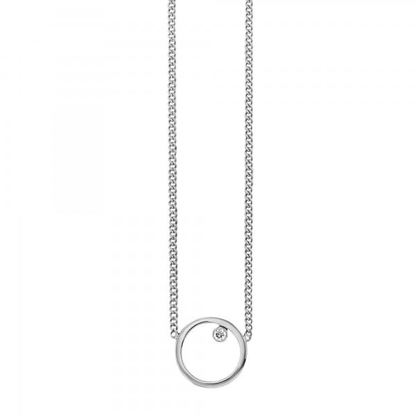 cai 925/- Sterling Silber rhodiniert Zirkonia Kreis Collier