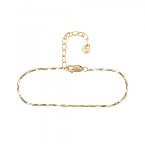 cai Fußkette 925/- Sterling Silber vergoldet Schlangenkette vierseitig diamantiert gedreht