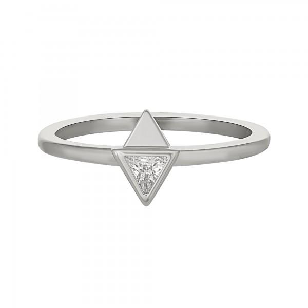 cai Ring 925 Silber rhodiniert mit Zirkonia Dreieck