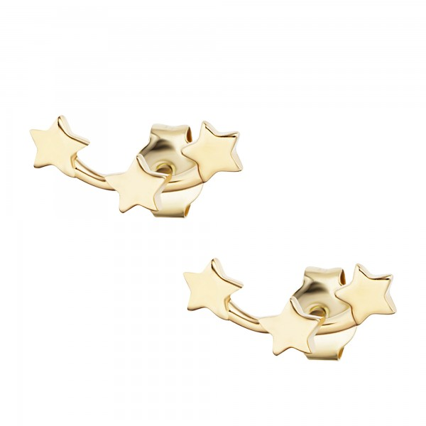 cai Ohrstecker 925/- Sterling Silber gelb vergoldet Sterne