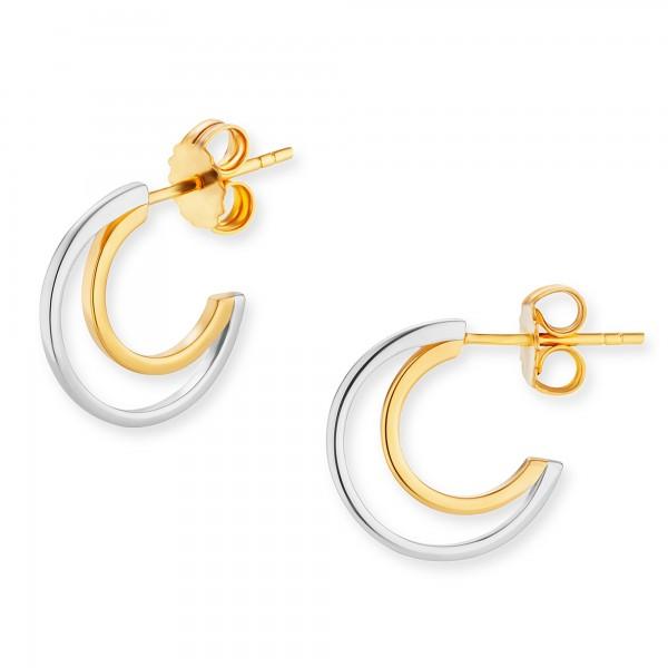 cai Creolen 925/-Sterling Silber bicolor vergoldet
