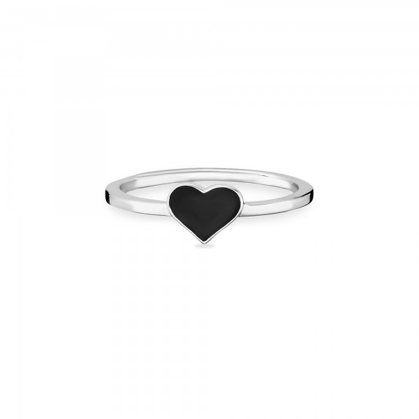cai Ring 925/- Sterling Silber rhodiniert Herz schwarz