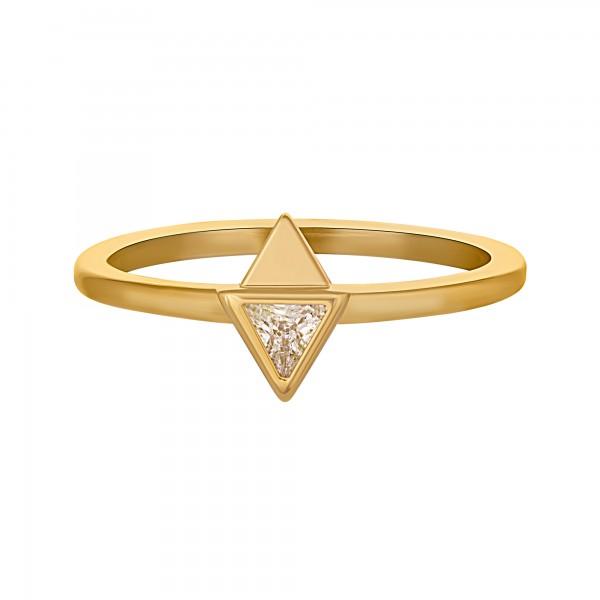 cai Ring 925 Silber vergoldet mit Zirkonia Dreieck