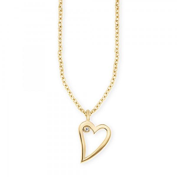 cai 925/- Sterling Silber vergoldet Zirkonia Herz Anhänger mit Kette