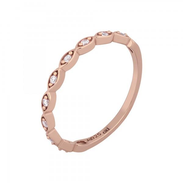 cai Ring 925/- Sterling Silber rosévergoldet Zirkonia Stacking
