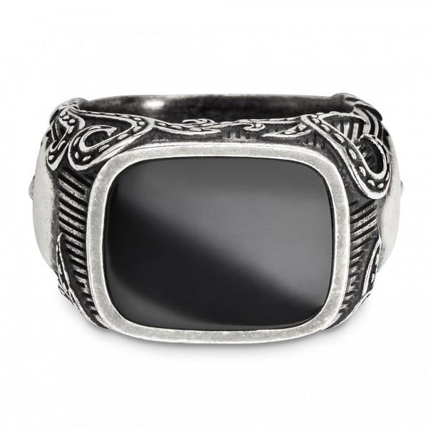 cai Ring 925/- Sterling Silber Onyx schwarz