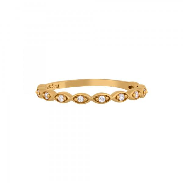 cai Ring 925/- Sterling Silber vergoldet Zirkonia Stacking
