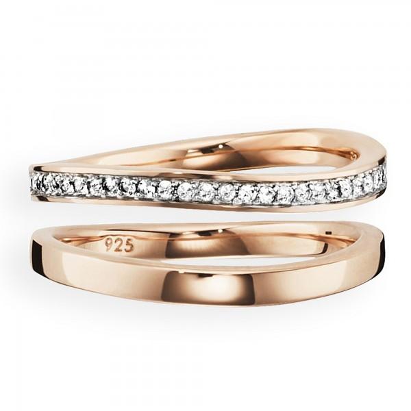 cai Ring 925/- Sterling Silber rotvergoldet Topas