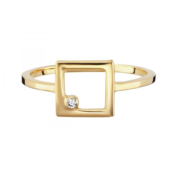 cai Ring 925/- Sterling Silber vergoldet Zirkonia Viereck