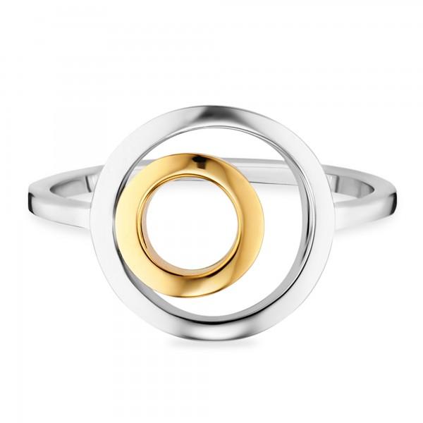 cai Ring 925/- Sterling Silber bicolor vergoldet Kreise