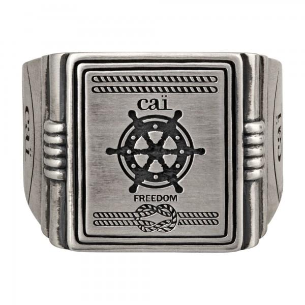 cai 925/- Sterling Silber Siegelring matt oxidiert Sailor Wappen Ring