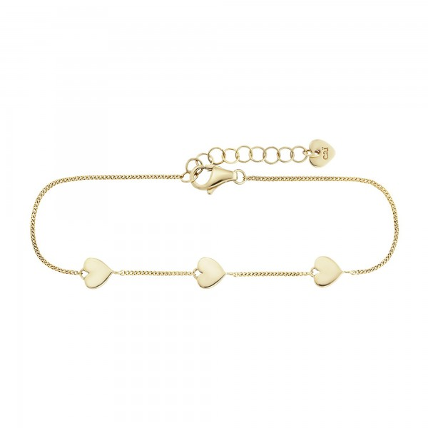 cai 925/- Sterling Silber vergoldet Herzen Armband