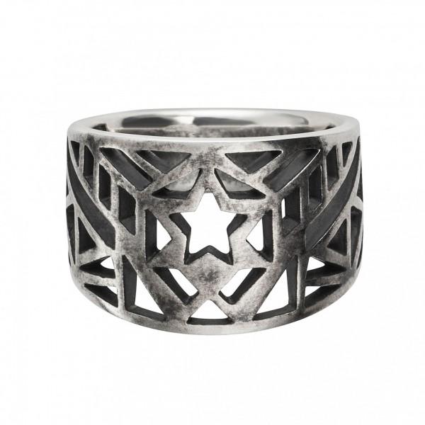 cai Ring 925/- Sterling Silber oxidiert Stern Europa