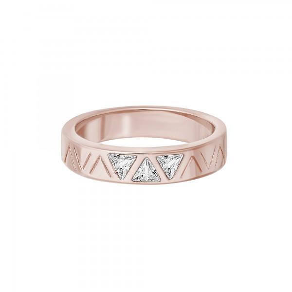 cai Ring 925 Silber rosévergoldet mit Zirkonia Dreiecken