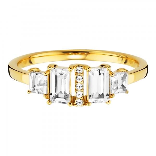 cai Ring 925/- Sterling Silber vergoldet mit Weißtopas