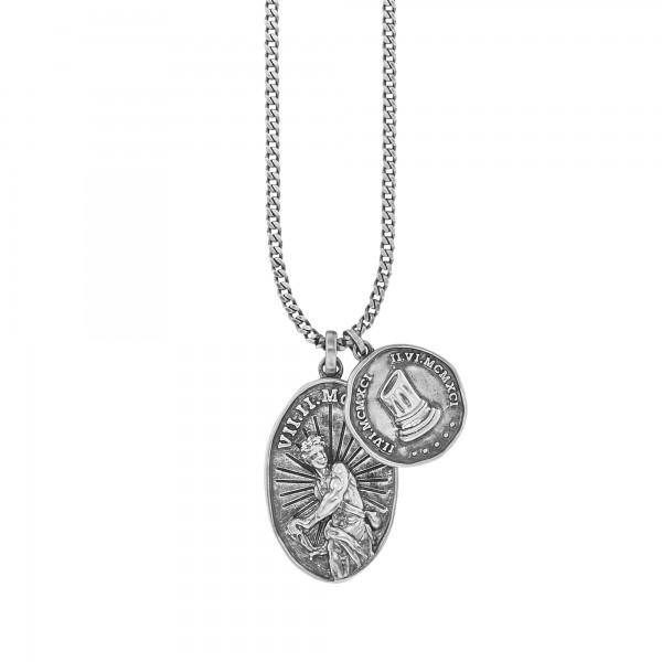 cai Anhänger mit Kette 925/- Silber matt-oxidiert Münzen