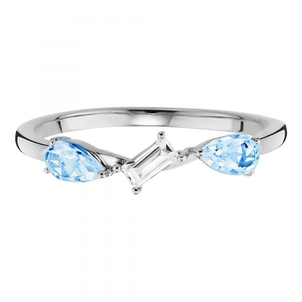 cai Ring 925/- Sterling Silber rhodiniert mit Weiß- und Blautopas