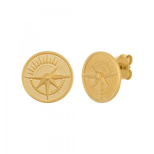 cai Ohrstecker 925 Silber vergoldet Münze Kompass Sonne