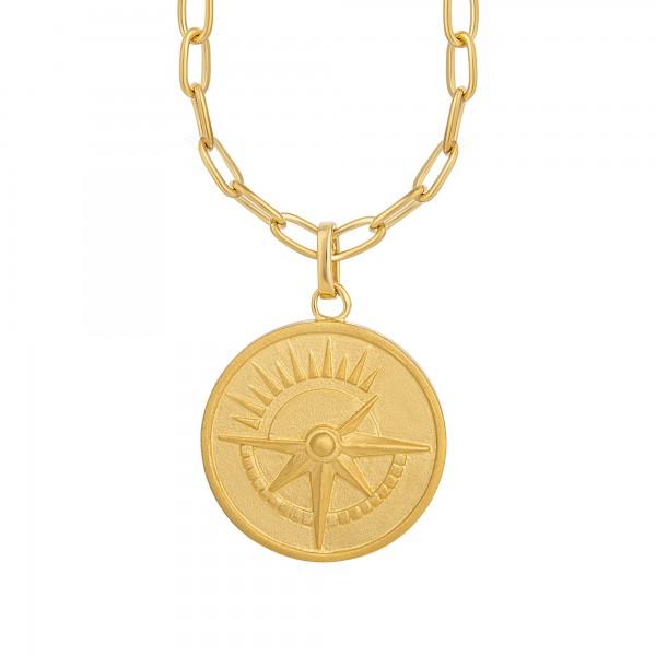 cai Halskette 925 Silber vergoldet Münze Kompass Sonne