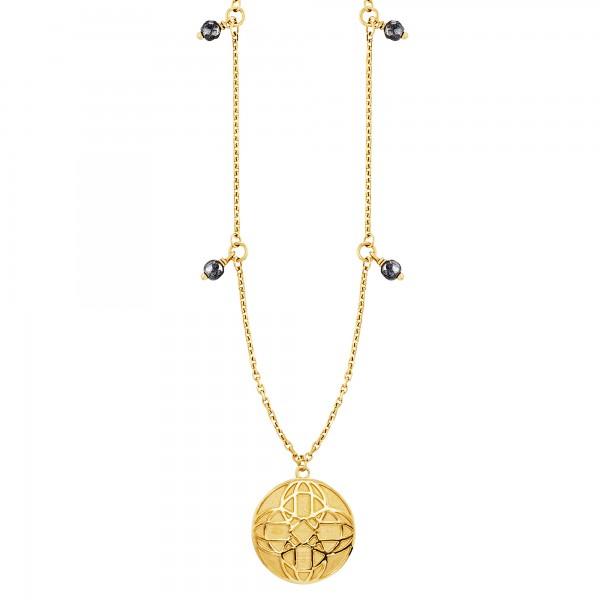 cai Anhänger mit Kette 925/- Sterling Silber vergoldet Hämatit 45cm