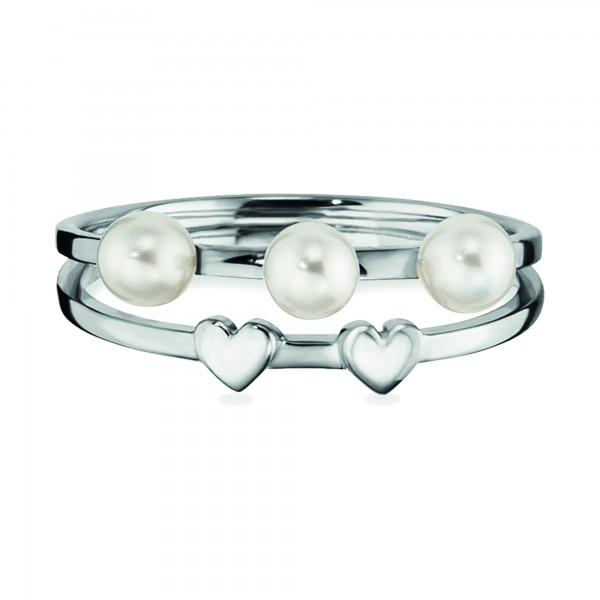 cai Ring 925/- Sterling Silber rhodiniert Perlen Herz